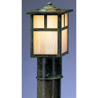Mission 1 Light 7 inch Verdigris Patina Post Mount in Gold White Iridescent