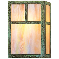 Arroyo Craftsman MS-10TGW-VP Mission 1 Light 7 inch Verdigris Patina Wall Mount Wall Light in Gold White Iridescent