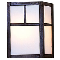 Arroyo Craftsman MS-8TWO-MB Mission 1 Light 5 inch Mission Brown Wall Mount Wall Light in White Opalescent
