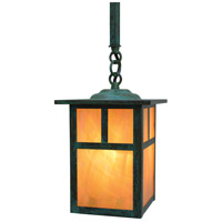 Arroyo Craftsman MSH-6TGW-VP Mission 1 Light 6 inch Verdigris Patina Pendant Ceiling Light in Gold White Iridescent