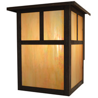 Arroyo Craftsman MW-15TGW-MB Mission 2 Light 18 inch Mission Brown Outdoor Wall Mount in Gold White Iridescent