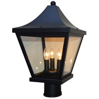 Arroyo Craftsman NAP-10CLR-BK Nantes 3 Light 15 inch Satin Black Post Mount in Clear