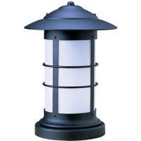 Arroyo Craftsman NC-9LWO-BK Newport 1 Light 13 inch Satin Black Outdoor Column Mount in White Opalescent