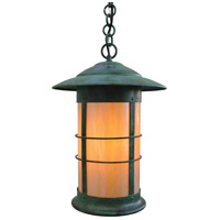 Arroyo Craftsman NH-14LGW-VP Newport 1 Light 14 inch Verdigris Patina Pendant Ceiling Light in Gold White Iridescent