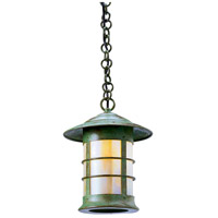 Arroyo Craftsman NH-9GW-VP Newport 1 Light 9 inch Verdigris Patina Pendant Ceiling Light in Gold White Iridescent