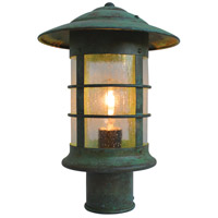 Arroyo Craftsman NP-9CS-VP Newport 1 Light 14 inch Verdigris Patina Post Mount in Clear Seedy