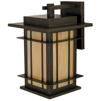 Arroyo Craftsman OPB-9GW-BZ Oak Park 1 Light 9 inch Bronze Wall Mount Wall Light in Gold White Iridescent