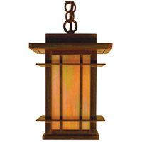 Arroyo Craftsman OPH-7GW-RC Oak Park 1 Light 7 inch Raw Copper Pendant Ceiling Light in Gold White Iridescent
