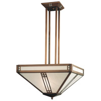 Arroyo Craftsman PCH-18F-BK Prairie 4 Light 18 inch Satin Black Inverted Chandelier Ceiling Light in Frosted