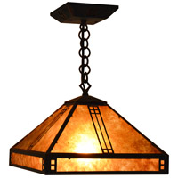 Arroyo Craftsman PH-12M-BZ Prairie 1 Light 12 inch Bronze Pendant Ceiling Light in Amber Mica