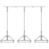 Prairie 3 Light 42 inch Satin Black In-Line Chandelier Ceiling Light in Frosted
