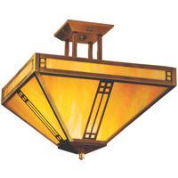 Arroyo Craftsman PIH-12GW-AB Prairie 4 Light 12 inch Antique Brass Semi-Flush Mount Ceiling Light in Gold White Iridescent