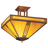 Arroyo Craftsman PIH-18M-BK Prairie 4 Light 18 inch Satin Black Semi-Flush Mount Ceiling Light in Amber Mica thumb