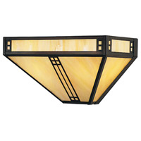 Arroyo Craftsman PS-12GW-BZ Prairie 2 Light 12 inch Bronze Wall Mount Wall Light in Gold White Iridescent