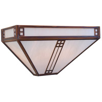 Arroyo Craftsman PS-15WO-BK Prairie 2 Light 15 inch Satin Black Wall Mount Wall Light in White Opalescent thumb