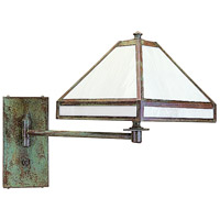 Pasadena 1 Light 9 inch Verdigris Patina Wall Mount Wall Light in White Opalescent