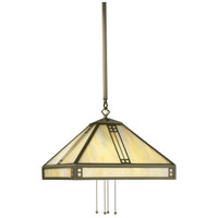 Arroyo Craftsman PSH-15GW-AB Prairie 4 Light 15 inch Antique Brass Pendant Ceiling Light in Gold White Iridescent