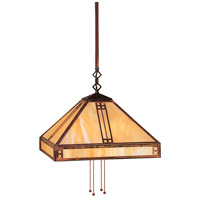 Arroyo Craftsman PSH-15TN-BK Prairie 4 Light 15 inch Satin Black Pendant Ceiling Light in Tan photo thumbnail