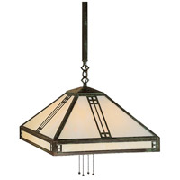 Arroyo Craftsman PSH-18GW-MB Prairie 4 Light 18 inch Mission Brown Pendant Ceiling Light in Gold White Iridescent thumb