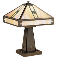 Arroyo Craftsman PTL-11OGW-AB Pasadena 16 inch 60 watt Antique Brass Table Lamp Portable Light in Gold White Iridescent