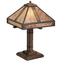Arroyo Craftsman PTL-12AM-BZ Prairie 18 inch 60 watt Bronze Table Lamp Portable Light in Almond Mica