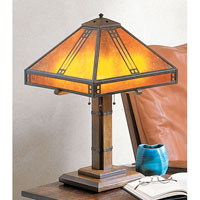 Arroyo Craftsman PTL-15M-BZ Prairie 23 inch 40 watt Bronze Table Lamp Portable Light in Amber Mica