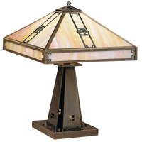 Arroyo Craftsman PTL-16OGW-AB Pasadena 21 inch 60 watt Antique Brass Table Lamp Portable Light in Gold White Iridescent