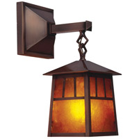 Arroyo Craftsman RB-8M-P Raymond 1 Light 19 inch Pewter Outdoor Wall Mount in Amber Mica thumb