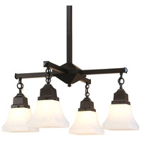 Arroyo Craftsman RCH-4-BK Ruskin 4 Light 24 inch Satin Black Chandelier Ceiling Light Glass Sold Separately