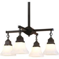 Arroyo Craftsman RCH-4-BK Ruskin 4 Light 24 inch Satin Black Chandelier Ceiling Light Glass Sold Separately