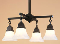Ruskin 4 Light 24 inch Satin Black Chandelier Ceiling Light, Glass Sold Separately