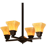 Arroyo Craftsman RCH-4U-BZ Ruskin 4 Light 24 inch Bronze Chandelier Ceiling Light, Glass Sold Separately