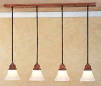 Arroyo Craftsman Ruskin 4 Light Pendant in Raw Copper RICH-4-RC