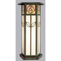 Saint Clair 1 Light 17 inch Verdigris Patina Column Mount in Gold White Iridescent and White Opalescent Combination
