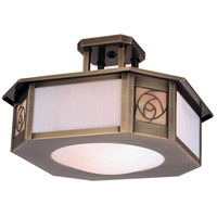 Arroyo Craftsman SCCM-15GWC-AB Saint Clair 2 Light 16 inch Antique Brass Semi-Flush Mount Ceiling Light in Gold White Iridescent and White Opalescent