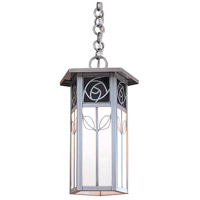 Arroyo Craftsman SCH-12REC-RB Saint Clair 1 Light 8 inch Rustic Brown Pendant Ceiling Light in Red and White Opalescent Combination thumb