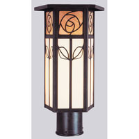 Saint Clair 1 Light 12 inch Bronze Post Mount in Gold White Iridescent and White Opalescent Combination
