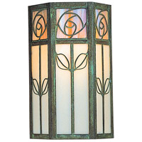Arroyo Craftsman SCW-12WO-VP Saint Clair 1 Light 12 inch Verdigris Patina Outdoor Wall Mount in White Opalescent thumb