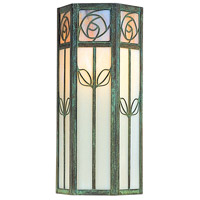 Arroyo Craftsman SCW-16GWC-VP Saint Clair 1 Light 16 inch Verdigris Patina Outdoor Wall Mount in Gold White Iridescent and White Opalescent