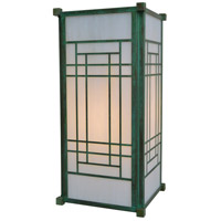 Arroyo Craftsman SDB-10WO-VP Scottsdale 1 Light 21 inch Verdigris Patina Outdoor Wall Mount in White Opalescent