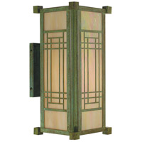 Arroyo Craftsman SDB-6GW-VP Scottsdale 1 Light 14 inch Verdigris Patina Outdoor Wall Mount in Gold White Iridescent