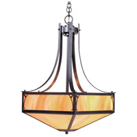 Arroyo Craftsman SGCH-20GW-BZ Saint George 4 Light 20 inch Bronze Pendant Ceiling Light in Gold White Iridescent