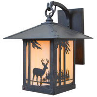 Timber Ridge 1 Light 15 inch Rustic Brown Outdoor Wall Mount in Almond Mica