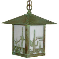 Arroyo Craftsman TRH-9CTWO-VP Timber Ridge 1 Light 9 inch Verdigris Patina Pendant Ceiling Light in White Opalescent