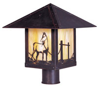 Arroyo Craftsman TRP-12HSGW-BZ Timber Ridge 1 Light 12 inch Bronze Post Mount in Gold White Iridescent
