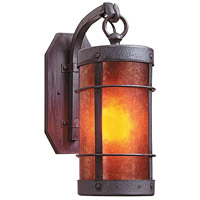 Arroyo Craftsman VB-9NRM-MB Valencia 1 Light 6 inch Mission Brown Wall Mount Wall Light in Amber Mica