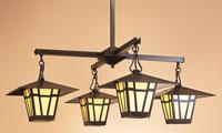 Arroyo Craftsman Westmoreland 4 Light Foyer Chandeliers in Bronze WCH-12/4CR-BZ