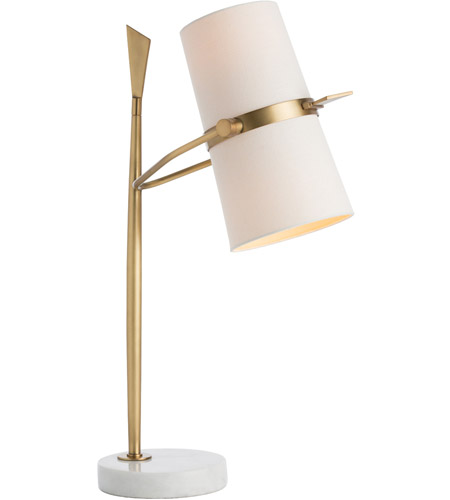 Arteriors Yasmin 2 Light Table Lamp In Antique Brass White Marble 49023