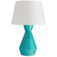 Olsen 32 inch 150 watt Atlantis Aqua Reactive Glaze Table Lamp Portable Light