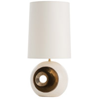 Emmaline 25 inch 150 watt Ivory Crackle/Metallic Gold Table Lamp Portable Light, Round